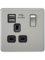 SCREWLESS 1G SWITCHED SOCKET WITH USB BRUSHED CHROME