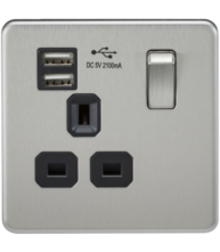 Wiring Accessories Knightsbridge Screwless 1g Switched Socket With Usb Brushed Chrome